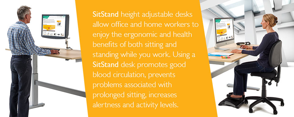 SitStand height adjustable desks allow office and home workers to enjoy the ergonomic and health benefits of both sitting and standing while you work.